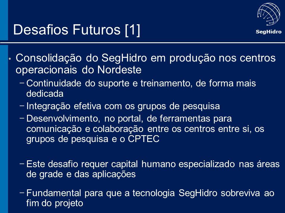 Desafios Futuros [1] Consolidação do SegHidro em produção nos centros operacionais do Nordeste.